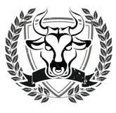 Emblema de la cabeza del toro del Grunge Fotos de archivo libres de regalías