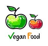 Emblema de la comida del vegano con los iconos verdes y rojos de la fruta de la manzana Imagenes de archivo