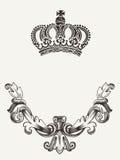 Emblema de la corona con el escudo. Fotos de archivo