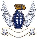 Emblema de la granada del ala Imagenes de archivo