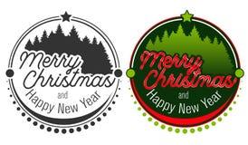 Emblema de la insignia del saludo de la Feliz Navidad fotografía de archivo