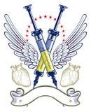 Emblema de la jeringuilla y del ala del corazón Foto de archivo