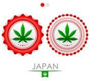 Emblema de la marijuana de Japón, sello del cáñamo del vector de la aprobación stock de ilustración