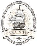 Emblema de la nave del mar del vintage Imagen de archivo libre de regalías