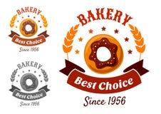 Emblema de la panadería con la galleta Imágenes de archivo libres de regalías