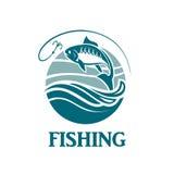 Emblema de la pesca con las ondas Foto de archivo libre de regalías