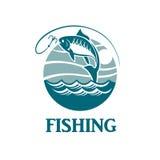 Emblema de la pesca con las ondas Fotos de archivo libres de regalías
