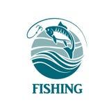Emblema de la pesca con las ondas Fotos de archivo