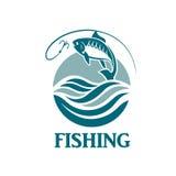 Emblema de la pesca con las ondas Foto de archivo