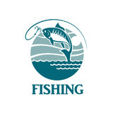 Emblema de la pesca con las ondas Imagenes de archivo