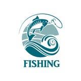 Emblema de la pesca con las ondas Imagen de archivo libre de regalías