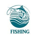 Emblema de la pesca de los peces espadas Foto de archivo libre de regalías