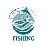 Emblema de la pesca de los peces espadas Imágenes de archivo libres de regalías