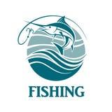 Emblema de la pesca de los peces espadas Imagen de archivo libre de regalías