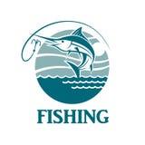 Emblema de la pesca de los peces espadas Foto de archivo