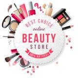 Emblema de la tienda de la belleza Imagen de archivo libre de regalías