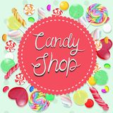 Emblema de la tienda del caramelo Emblema multicolor Gr?ficos de vector libre illustration
