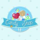 Emblema de la tienda del caramelo Emblema multicolor Gr?ficos de vector stock de ilustración