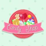 Emblema de la tienda del caramelo Emblema multicolor Gr?ficos de vector ilustración del vector