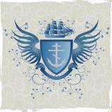Emblema de la vendimia con la cruz del marino Imagenes de archivo