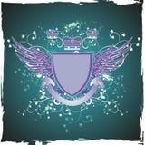 Emblema de la vendimia de Grunge en fondo verde oscuro Fotografía de archivo