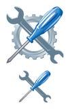 Emblema de las herramientas Fotografía de archivo libre de regalías