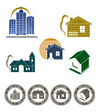 Emblema de las propiedades inmobiliarias y conjunto del sello Imagen de archivo