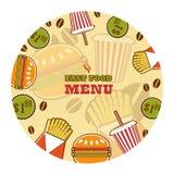 Emblema de los alimentos de preparación rápida Imágenes de archivo libres de regalías