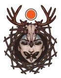 Emblema de moda con la cara malvada de la muchacha Fotografía de archivo libre de regalías