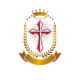Emblema de oro de Christian Cross creado con la corona real, laurel w Fotos de archivo libres de regalías