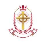Emblema de oro de Christian Cross creado con la corona real, laurel w Imagenes de archivo