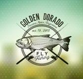 Emblema de oro de la pesca de Dorado en fondo de la falta de definición Ilustración del vector stock de ilustración
