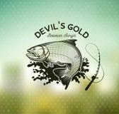 Emblema de oro de la pesca de Dorado en fondo de la falta de definición Ilustración del vector ilustración del vector