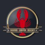 Emblema de oro, rojo y negro de los mariscos de la delicadeza de la langosta Fotografía de archivo libre de regalías
