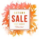 Emblema de papel da venda sobre o fundo com folhas de outono Foto de Stock