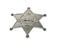 Emblema de prata do xerife com rotulação levantada fotografia de stock