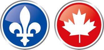 Emblema de Quebeque e de Canadá ilustração stock
