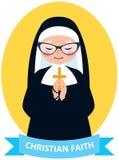 Emblema de rezar cristão velho da freira Foto de Stock