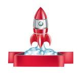 Emblema de Rocket aislado en blanco ilustración del vector