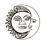 Emblema de Sun e de mês isolado sobre o branco Fotos de Stock