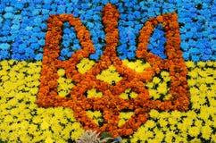 Emblema de Ucrania (tridente) en la bandera azul y amarilla de Ucrania m Fotografía de archivo libre de regalías