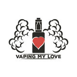 Emblema de un cigarrillo electrónico con vapor Fotografía de archivo