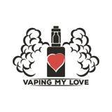 Emblema de un cigarrillo electrónico con vapor Fotos de archivo libres de regalías