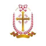 Emblema decorativo de Christian Cross compuesto con llaves de la seguridad H Imagenes de archivo