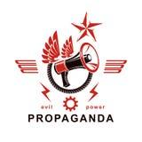 Emblema decorativo del vector compuesto con el altavoz y la cuerda cons alas Propaganda como los medios de la manipulación y del  libre illustration