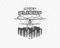 Emblema del aeroplano del vintage Etiqueta del biplano Insignia plana retra, elementos del diseño Sello de la aviación Logotipo y Fotos de archivo