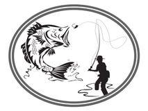 Emblema del bajo de la pesca ilustración del vector
