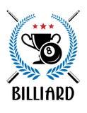 Emblema del billar con la guirnalda del laurel Imagenes de archivo