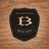Emblema del bitcoin del escudo Imágenes de archivo libres de regalías