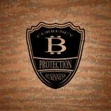 Emblema del bitcoin del escudo Foto de archivo